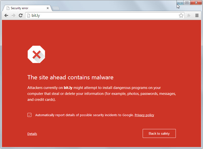 google hacked site browser warning