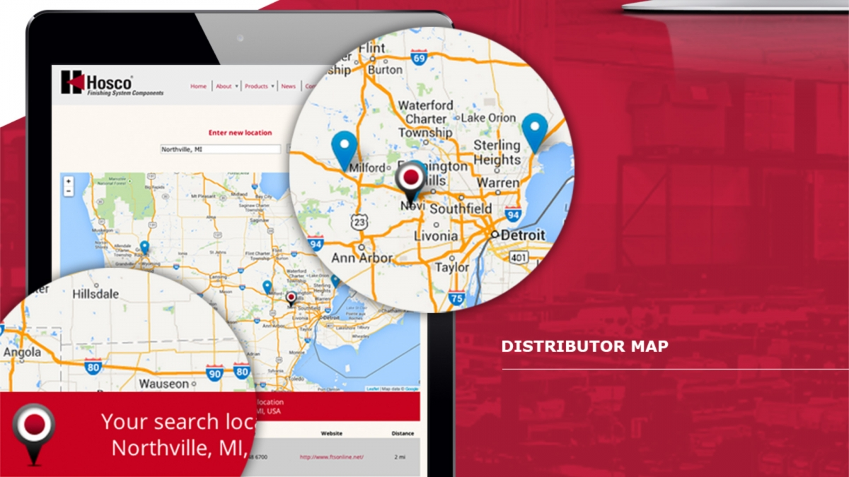 Manufacturing website distributor map