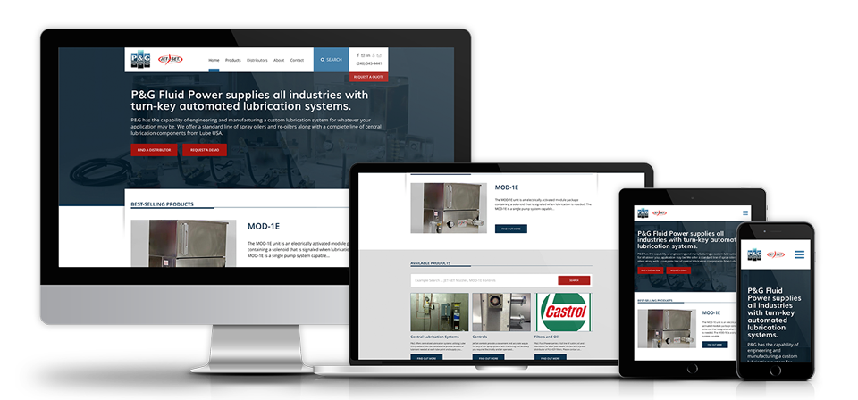 Manufacturing website development with responsive design