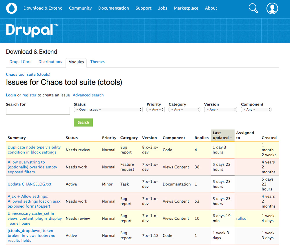 Drupal plugin bug tracking