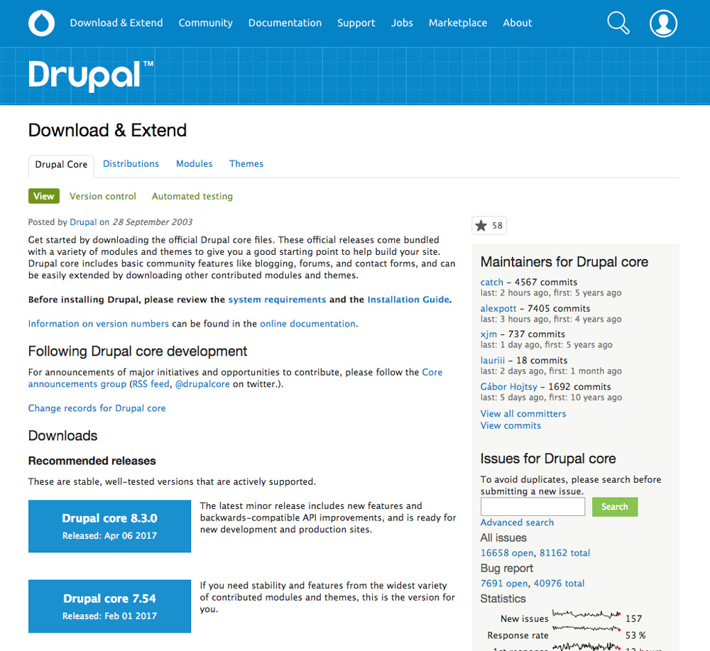 Drupal vs WordPress Drupal module repository
