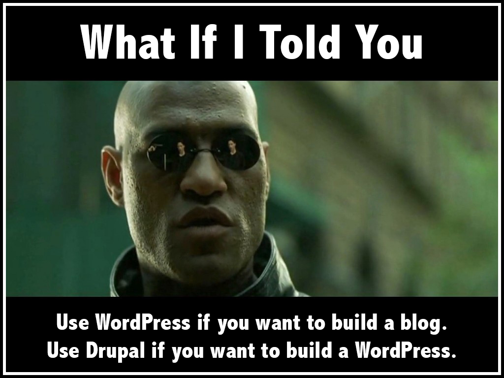 Use WordPress if you want to build a blog. Use Drupal if you want to build a WordPress