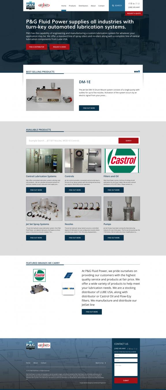 P&G Fluid Power Manufacturing Website Design | Commercial Progression