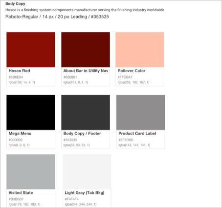 Hosco Website Design Color Swatches