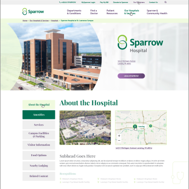 Sparrow Healthcare website design