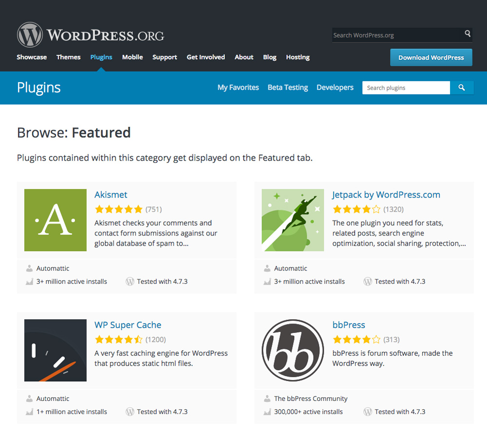 Wordpress vs Drupal plugin directory